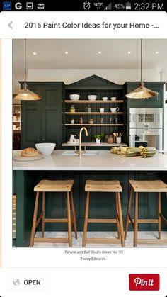 Dark forest green cabinets