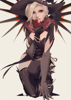 Witch Mercy арт, Игры, overwatch, Mercy