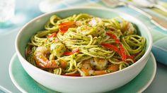 Spaghetti with Olive Pesto & Shrimp (Gluten Free Pasta Recipes from Ronzoni) Gf Recipes, Pasta Recipes, Healthy Recipes, Free Recipes, Pasta Meals, Zoodle Recipes, Seafood Recipes, Pasta Dishes