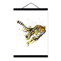 Leopard Watercolor Fashion Animal Wildlife Wooden Framed Canvas Painting Wall Art Print Picture Poster Scroll Bedroom Home Decor #Affiliate