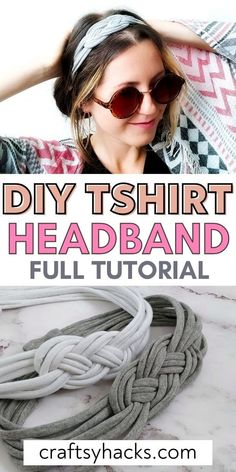 You can have more fun creating cute DIY fashion with this wonderful DIY headband from an old shirt. This DIY craft is super simple to create so you can easily enjoy creating more upcycled fashion. #diy #accessories Homemade Headbands, How To Make Headbands, Homemade Bows, Macrame Headband, Diy Headband, Fabric Headband Tutorial, Knotted Headband, Tee Shirt Crafts, T Shirt Diy