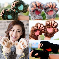 Cute Animal Paw Gloves Fingerless Mittens Fluffy Warm Bear Lion Plush Costume in Clothing, Shoes & Accessories, Costumes, Reenactment, Theater, Accessories   eBay