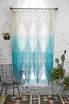 .Blue Multicolor Ombre Crochet Magical Thinking Safi Wall Hanging Curtains @ Urban Outfitters $200!.