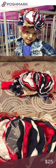Oversized Fourth of July statement headband! GORGEOUS!   In excellent gently worn condition.  Blue, red, gold and white colors  Cozette couture (from ETSY) Accessories Hair Accessories
