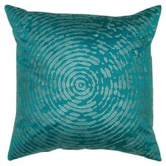Add a pop of pattern to your sofa or settee with this eye-catching pillow, showcasing an embroidered circle motif in peacock blue.    P...