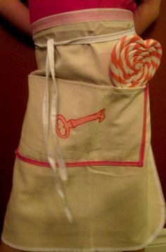 Half apron with pink ribbons and hand painted by Mayamisworld, $10.00