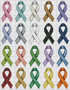 free cross stitch Cancer Ribbons http://www.dmc-usa.com/Inspiration/Projects/Cause-Awareness-Projects/Cancer-Ribbons.aspx?technique=cross+stitch