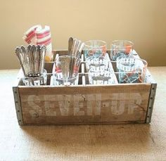 Vintage Seven Up Beverage Crate Server from Etsy seller robertagrove.jpg  Would work well for silverware and napkins.
