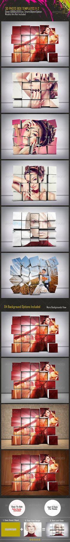 3D Photo Box Template PSD #design Download: http://graphicriver.net/item/3d-photo-box-template-v2/7604279?ref=ksioks