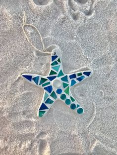 Stained Glass Mosaic Starfish Christmas Ornament by BlueOceanGlass