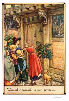 """Cicely Mary Barker Print -  """"WASSAIL, WASSAIL TO OUR TOWN"""" - Offset Lithograph - c1930"""