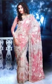 Off-White Net Wedding and Bridal Embroidered Saree