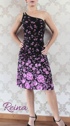One shoulder black tango dress with purple roses by reinatango