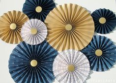Nautical Blue and Gold Paper Rosettes Paper Fans Background Nautical Nursery Decor Nautical Baby Shower Nautical Party Gold Blue Rosettes Gender Reveal Party Decorations, Gold Party Decorations, Graduation Decorations, Baby Shower Decorations, Hanging Decorations, Halloween Decorations, Nautical Nursery Decor, Nautical Party, Baby Shower Backdrop