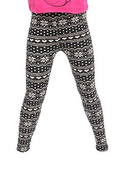 L4U Girls Winter Snowflake & Hearts Brushed Printed Fashion Leggings. Available in two sizes: S/M, and L/XL.