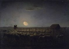 French Realism - Jean-François Millet (French [Realism, Naturalism, Barbizon School] The Sheepfold, Moonlight, between 1856 and Claude Monet, Art Prints For Sale, Fine Art Prints, Canvas Prints, Jean Francois Millet, Barbizon School, Moonlight Painting, Google Art Project, John Singer Sargent