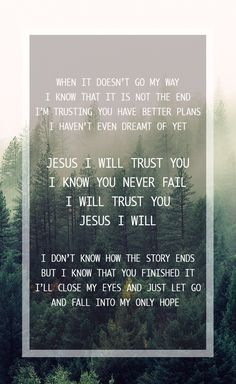 """Hillsong Young&Free - Trust What a beautiful song. Trust is not something that you arrive at, it's something that you always working on with your relationship with God. And this song feels like a conversation, a first person, beautiful reminder in our journey with Christ.   """"I don't know how the story ends, but i know You have finished it"""""""