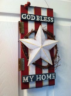 Wooden Patriotic Wreath Patriotic Sign God by FromTheCoast2TheCity