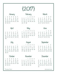2017 Yearly Calendar Printables are Here! | 2017 yearly calendar ...