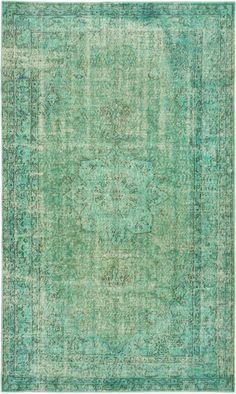 "Green Vintage Turkish Overdyed Rug - 5'4"" X 9'2"" | Chairish"