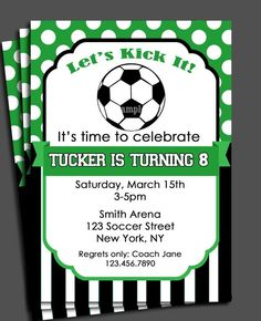 Soccer Invitation Printable - You Pick Colors - Birthday, Baby Shower, etc. Soccer Birthday Parties, Football Birthday, Soccer Party, Birthday Party Themes, Birthday Ideas, 11th Birthday, Husband Birthday, Themed Parties, Football Party Invitations