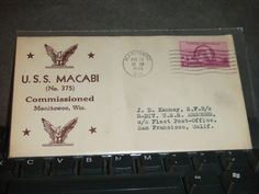 USS MACABI SS-375 Naval Cover 1945 WWII COMMISSIONED Cachet MANITOWOC, WIS