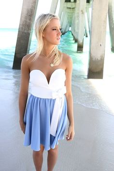 Sweet Summertime White And Blue Tube Top Mini Dress – Amazing Lace
