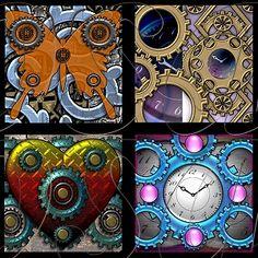 Steampunk Squares - Digital Collage Sheet