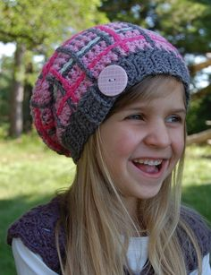 """Crochet Pattern: """"Perfectly Plaid"""" Slouch Hat, Permission to Sell Finished Items Plaid Crochet, Black Crochet Dress, Knit Crochet, Crochet Dresses, Crochet Things, Crochet Afghans, Crochet Crafts, Crochet Projects, Beanie Hats"""