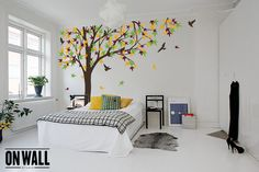 Large Autumn Tree decal, tree wall decal, Vinyl Wall Decal bird stickers K024 $92