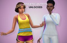 """dullivory: """" unlocked athletic career outfits • available for teen-elder females • come with original EA swatches • base game compatible • credits to eaxis for the mesh and @treefish for..."""