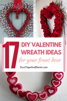 One of these 17 DIY Valentine wreath ideas will be perfect for your front door. These wreaths are all quick and easy to make yourself! Diy Valentines Day Wreath, Homemade Valentines, Valentine Box, Valentines Day Decorations, Valentine Day Crafts, Printable Valentine, Valentine Ideas, Wreath Crafts, Diy Wreath