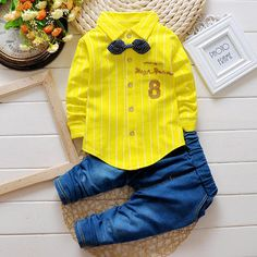 Lovely Kids Colorful Striped Lapel Shirt Denim Trousers Two-piece Suit at Banggood