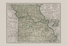 VINTAGE MISSOURI MAP Vintage Map of by EncorePrintSociety on Etsy