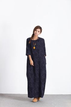 Oversize Loose maxi Dress Jacquard linen cotton dress women's cotton caftan linen kaftan plus size clothing large size dress Custom_made A50