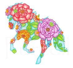 Children's Art Print 8 x 10 Prancing Horse Silhouette Nursery Art Child's Room Girls Room Children Floral Art. $18.00, via Etsy.