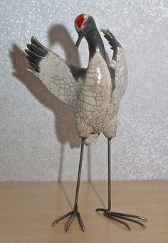Reiher mit Drahtfüßen, 13 x 13 x 24 cm (BxTxH)
