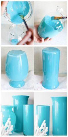 Enamel Paint + Clear Glass Vase = Easy, Beautiful Painted Enamel Vases!
