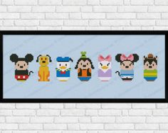 Mickey Mouse and friends parody Cross stitch PDF von cloudsfactory Mickey Mouse Y Amigos, Mickey Mouse Cartoon, Mickey Mouse And Friends, Minnie Mouse, Daisy Duck, Alphabet Disney, Pixel Art, Perler Beads, Disney Cross Stitch Patterns