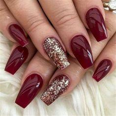 Classy Nail Designs, Red Nail Designs, Acrylic Nail Designs, Burgundy Nail Designs, Sparkly Nail Designs, Holiday Nail Designs, Red Acrylic Nails, Red Nails, Gold Nails