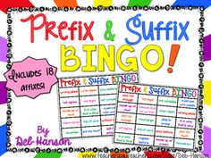 A Bingo game to review your prefixes and suffixes! The calling cards contain…