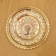 14 cm wall hanging / plate / small tray || floral design / picture of a peacock…
