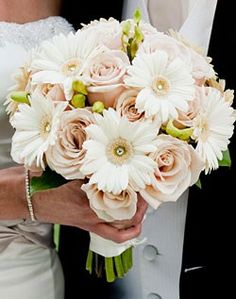 White Gerbera Daisies & Blush Roses add some black accents... beautiful!