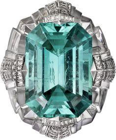 CARTIER (?) Ring - platinum, one 19.02 carat emerald-cut tourmaline, rock crystal, brilliant-cut diamonds.