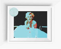 Marilyn Monroe Art Print,photography psychedelic crayon,digital prints,home decor,instant download,Wall Art Printable,Jpeg,High Resolution