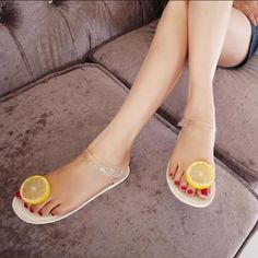 77067a82614537 New women Clip toe sandals belt Lemon fruit flip flops jelly plastic flat  shoes in Clothing