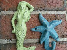 mermaid hooks starfish hooks turtle hooks by riricreations on Etsy, $90.00