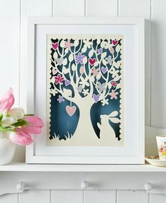 Download and print this full-sized papercutting template from Paper Panda! It features a gorgeous heart and flower tree, as well as an adorable bunny. Visit http://www.paperpandacuts.co.uk to buy original artwork, kits and more!