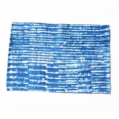 Linen Placemat- Indigo Blue Stripe- Hand Batik Block Printed- Set of 4 - PLACEMAT- Rustic Loom #rusticloom