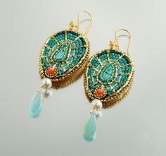 Moroccan Passion - Bead Embroidered Earrings, Oriental Statement Earrings, Turquoise and Gold, Gemstone, Coral, Glass and Leather. $135.00, via Etsy.